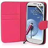 Hülle für Samsung Galaxy S3 Buch-Stil Imitat Ledertasche in Rosa Schale Brieftasche Etui, Schutzfolie, Mini Eingabestift