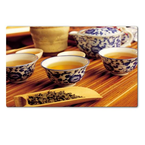 Green Tea Leaves Ceremic Set Table Mats Customized Made To Order Support Ready 28 6/16 Inch (720Mm) X 17 11/16 Inch (450Mm) X 1/8 Inch (4Mm) High Quality Eco Friendly Cloth With Neoprene Rubber Luxlady Large Deskmat Desktop Mousepad Laptop Mousepads Comfo