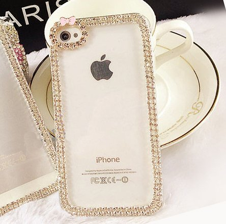 Candymaker Luxury Crystal Rhinestone Diamond Bling Bumper Skin Case With Frosted Clear Back For Apple Iphone 5C(Transparent)+ Stylus + 2 In 1 Winebottle Style Phone Charm/Anti-Dust Plug