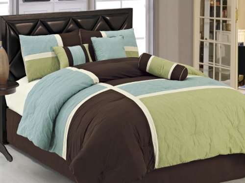 Chezmoi Collection 7-Piece Coffee Quilted Patchwork Comforter Set, Queen, Aqua Blue Sage Green front-6045