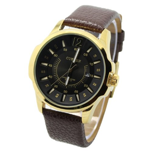 Curren 8123 Modern Business Face Gold / Black Watch W/ Day