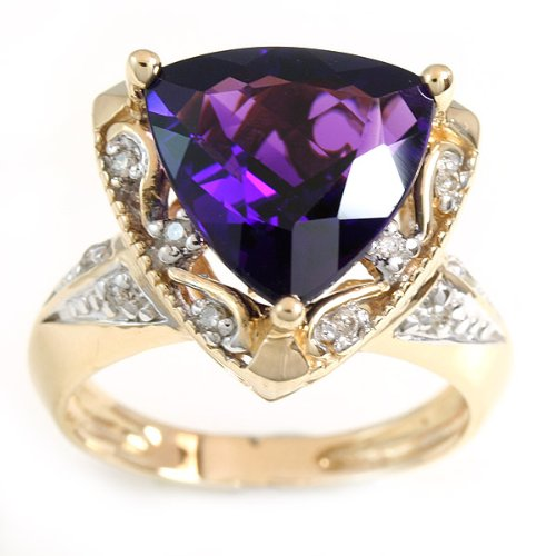 SAVE 74% 14K Uruguay Amethyst & Diamond Ring by Designer Michael Valitutti from Exotic & Rare Gemstone Collection - FREE Shipping - OVERSTOCK Clearanc