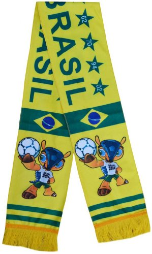 2014 Brasil World Cup Mascot Fuleco Football Fleece Scarf - Multicolour One Size at Amazon.com