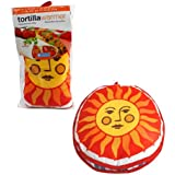 "Tortilla Warmer 12"" - Insulated Fabric Pouch by Camerons - Keeps warm for one hour after just 45 microwave seconds (Sunface)"