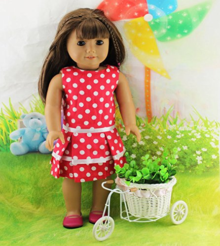 Teenitor(TM) Cute Red Party Dress With Round Polk Dot Pattern Fits 18 Inch Girl Dolls (Shipping By FBA) - 1
