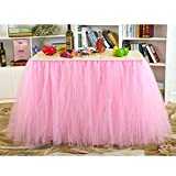 AerWo Tutu Table Skirts Tulle Queen Snowflake Wonderland Tutu Table Cloth for Girl Princess Party Baby Shower Wedding Birthday Parties Decoration Pink