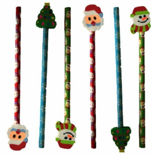 6-christmas-pencil-with-eraser-toppers-xmas-favours-girls-boys-kids-children-party-toy-bag-filler-sa