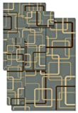 Central Oriental 8356BL4P Gallery 4-Piece Sets Circuitry Rug, Blue