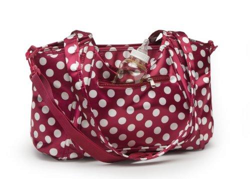 Kids Line Satin City Dot Carryall Diaper Bag, Ruby