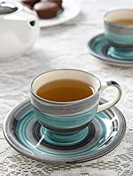 Handpainted SeaGreen Cup & Saucer (Set of 6)