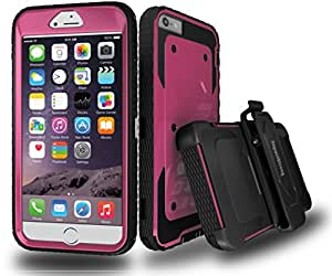 iPhone 6S Plus case, ImpactStrong Hybrid Dual Layer Combo Armor Defender Protective Case With Kickstand Belt Clip For iPhone 6S Plus / 6 Plus - Pink