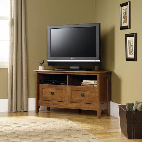 August Hill Corner TV Stand Oiled Oak Finish
