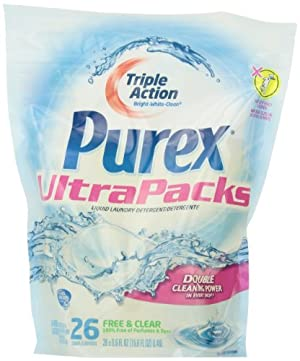 Purex Ultra Packs Laundry Detergent, Free and Clear, 26 Count