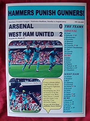 Arsenal 0 West Ham United 2 - 2015 - souvenir print