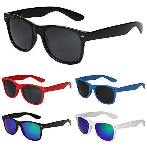X-CRUZE® Gafas de sol nerd estilo Wayfarer retro vintage unisex - 45 colores/modelos a elegir