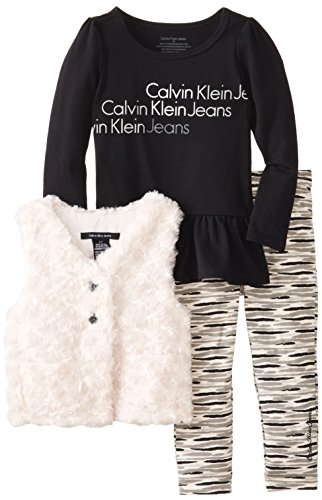 Calvin Klein Little Girls' 3 Piece Vest Set, Black, 3T front-808715