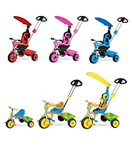 CHILDRENS 3 IN 1 KIDS TRIKE BIKE TRICYCLE 3 WHEEL WITH CANOPY & HANDLE - MULTI-COLOURED