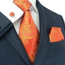 Landisun 376 Bright Orange Paisleys Mens Silk Tie Set: Tie+Hanky+Cufflinks
