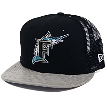 Florida Marlins Ostrich Visor A-Frame Mesh Trucker Strapback Hat by New Era