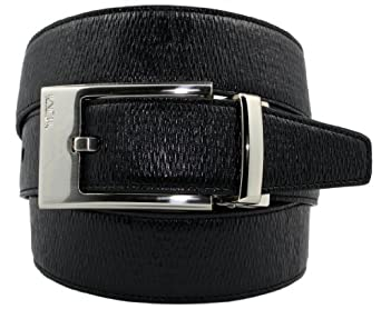 TUMI Mens Reversible Leather Belt Black Textured and Smooth. (34)