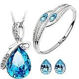 Cyan Bow Style Crystal Jewelry Set Combo Elegant Bracelet for Girls
