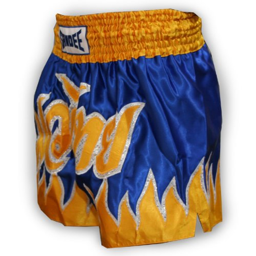Sandee - Vanquish Satin Thai Shorts - Blue/Yellow - Size XS (For Boxing, MMA, UFC, Muay Thai)
