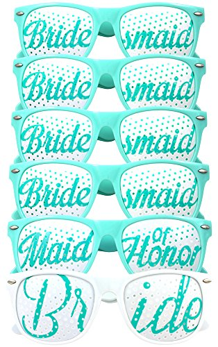 Bridal Bachelorette Party Favors - Wedding Kit - Bride & Bridesmaid Party Sunglasses - Set of 6 Pairs - Go Selfie Crazy - Themed Novelty Glasses for Memorable Moments & Fun Photos (6pcs, Aqua & White)
