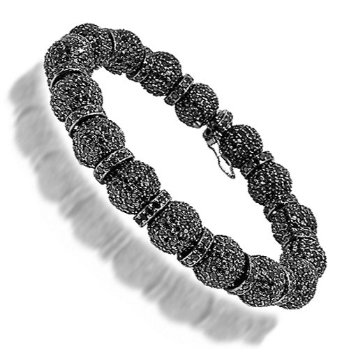 14K Gold Black Rhodium Plated Mens Shamballa