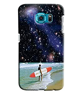 Blue Throat Man Surfing In Sea Printed Designer Back Cover/ Case For Samsung Galaxy S6 Edge
