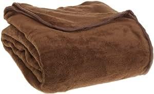 All Seasons Collection Micro Fleece Plush Solid F/Q Blanket, Chocolate