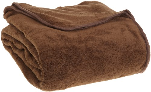 All Seasons Collection Micro Fleece Plush Solid F/Q Blanket, Chocolate (Big Blanket compare prices)