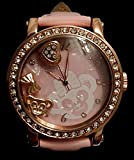海外ディズニーランド 大人サイズ 公式腕時計 リストウォッチ  動くダッフィーチャーム(クリスタルロケット同等)入り、 缶入り、 ベルト ピンク ShellieMay Watch