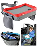 Kids Travel Play Tray - Childrens Car Seat Buggy Pushchair Lap Tray (Red)