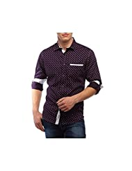 Yolo - You Only Live Once Purple Butta Printed Men's Slim Fit Cotton Shirt