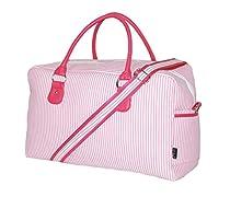 Weekender Overnight Bags by LD Bags (Pink Seersucker)