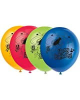 """Unique 12"""" Fin Friends Latex Balloons (8 Count), Multicolor"""