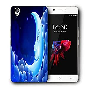 Snoogg Smiling Moon Printed Protective Phone Back Case Cover For OnePlus X / 1+X
