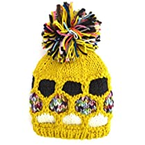 Honeycomb Knitted Bobble Winter Beanie Hat, Yellow