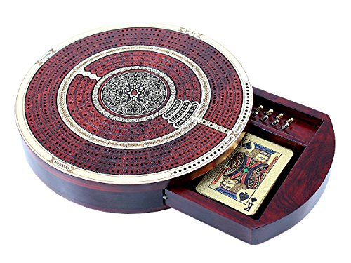 House of Cribbage - Round Shape 4 Tracks Continuous Cribbage Board Maple / Bloodwood with Push Drawer & place for Skunks, Corners & Won Games