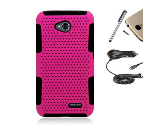 For Lg Optimus L70 D325 Ms323 / Lg Optimus Exceed 2 Vs450Pp (T-Mobile, Metro Pcs, Trac Phone, Virgin Mobile) Dual Layer Tuff Armor Impact Hybrid Soft Silicone Cover Hard Plastic Case + [World Acc] Tm Brand Built-In Smart Ic Chip 1100 Ma Rapid Charging Car