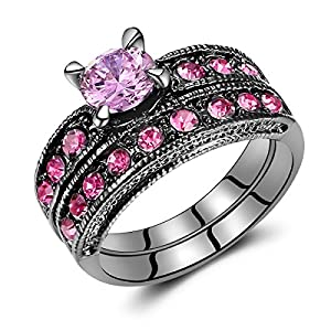 Pink Stone Diamond Black Gold Plated Women Bridal Engagement Ring Set (Pink&US Size 7)