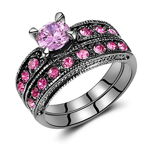 Carbonado ♦♦♦ Pink Stone Diamond Black Gold Plated Women Bridal Engagement