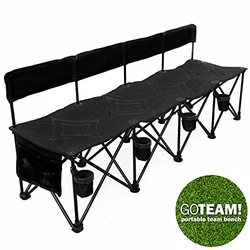 GoTeam Pro 4 Seat Portable Folding Team Bench - Black