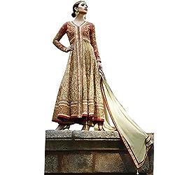 Vasu Saree Beige N Red Net Gracious Anarkali Salwar Suit