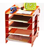 niceeshop(TM) 5 Tier File Trays Wooden Home Office DIY Desk Storage Organizer,Orange