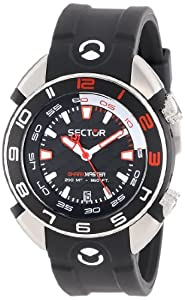 Sector Men's Watch R3251178225 In Collection Shark Master, 3 H and S with Black Dial and Black Strap