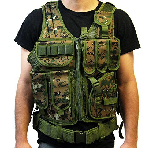 Tactical Vest Woodland Camo Camouflage For Hunting, Police, Swat With Pistol / Gun Holster / Pouches (Vest-V01W By Vivo)