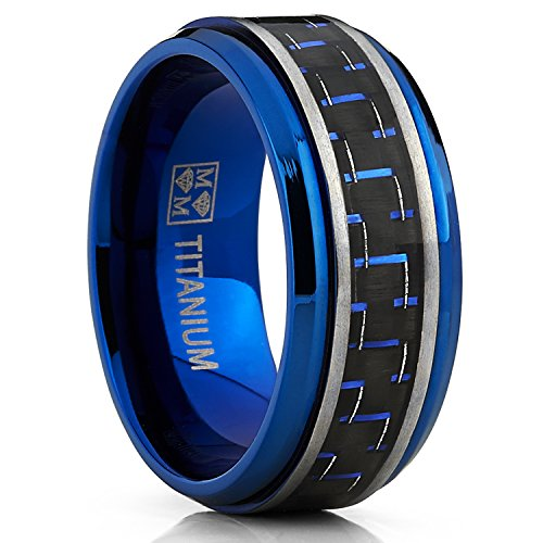 galleon s brushed blue titanium wedding bands ring