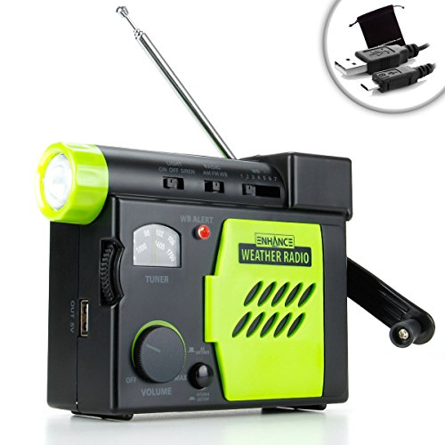 ENHANCE Emergency Self Powered Weather Radio with Hand Turbine & Smartphone Charger Power - Works with Apple iPhone 6 , Samsung Galaxy S6 , HTC One M9 & More *Includes Accessory Bag + Micro-USB Cable*