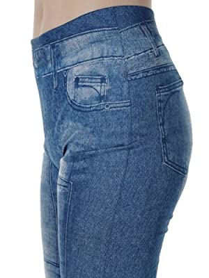 Anna-Kaci S/M Fit Blue Slim High Waisted Faux Patchwork Jeggings Leggings